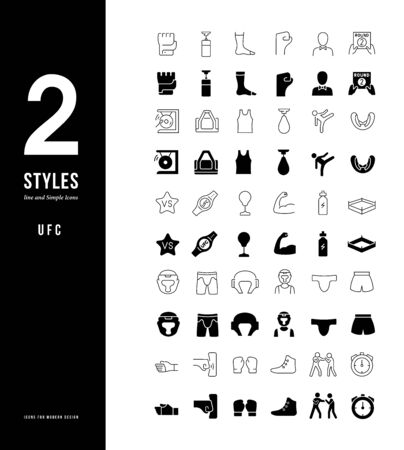 Collection simple and linear icons of UFC on a white background. Modern black and white signs for websites, mobile apps, and concepts