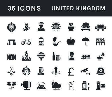 Collection simple icons of united kingdom on a white background. Modern black and white signs for websites, mobile apps, and concepts