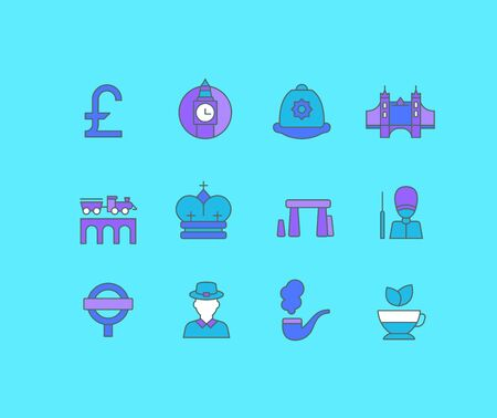 Collection simple icons of united kingdom on a blue background. Modern color signs for websites, mobile apps, and concepts