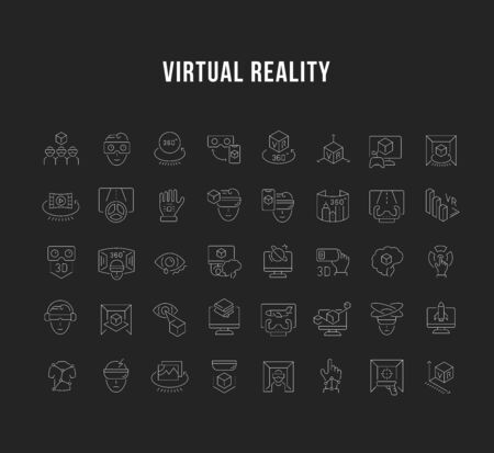 Set of vector line icons of virtual reality for modern concepts, web and apps.