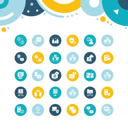 Collection simple icons of vpn on color circles. Modern white signs for websites, mobile apps, and concepts