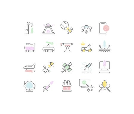 Set of vector line icons of space technology for modern concepts, web and apps. Illustration