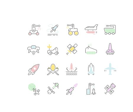 Set of vector line icons of space transport for modern concepts, web and apps.