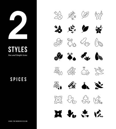 Collection simple and linear icons of spices on a white background. Modern black and white signs for websites, mobile apps, and concepts Ilustracja