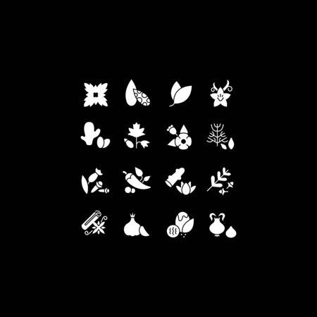 Raccolta semplici icone di spezie su sfondo nero. Insegne bianche moderne per siti Web, app mobili e concetti