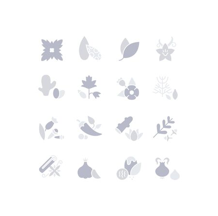 Collection simple icons of spices on a white background. Modern gray shadows signs for websites, mobile apps, and concepts