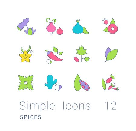 Collection simple icons of spices on a white background. Modern color signs for websites, mobile apps, and concepts Ilustracja