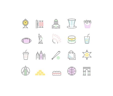 Set vector line icons in flat design USA, New York and America with elements for mobile concepts and web apps. Collection modern infographic  and pictogram.