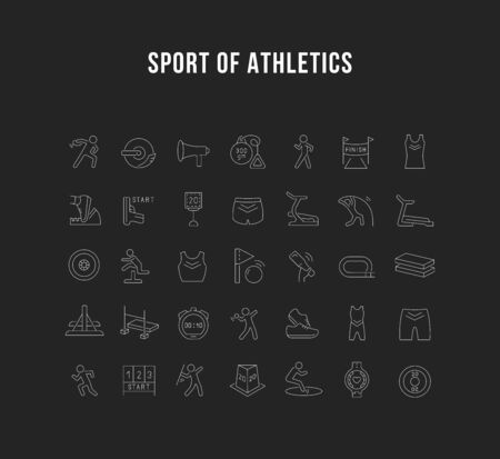 Set of vector line icon of sport of athletics for modern concepts, web and apps.