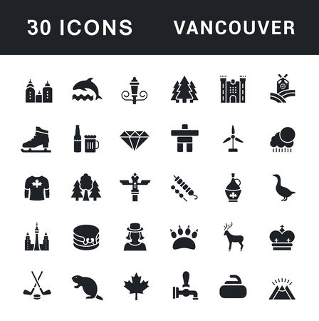 Collection simple icons of vancouver on a white background. Modern black and white signs for websites, mobile apps, and concepts