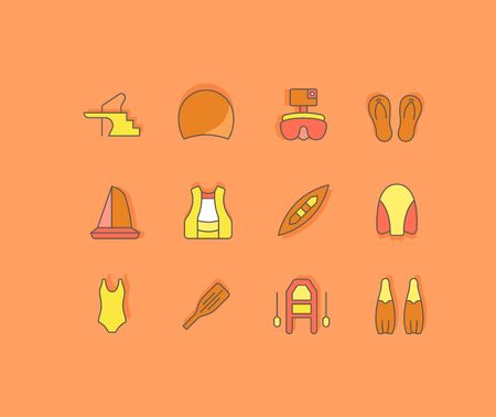 Collection simple icons of water sport on an orange background. Modern color signs for websites, mobile apps, and concepts Illustration