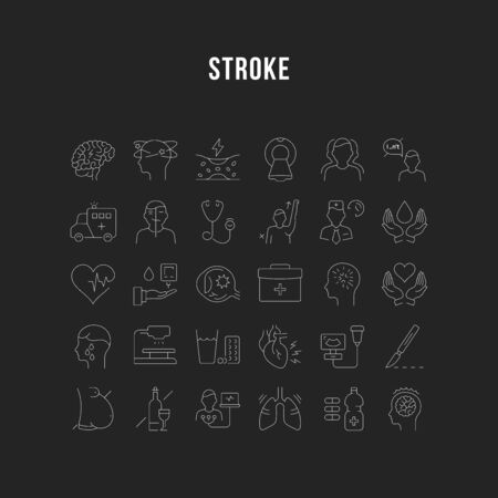 Set vector line icons, sign and symbols in flat design of stroke disease with elements for mobile concepts and web apps. Collection modern infographic  and pictogram.