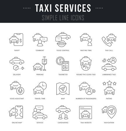 Collection linear icons of taxi services with names