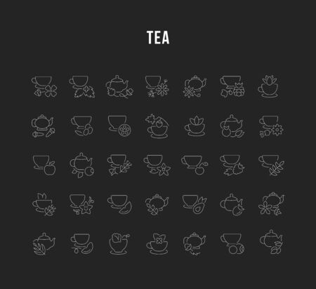 Set of vector line icons, sign and symbols of tea for modern concepts, web and apps. Collection of infographics elements, and pictograms. 向量圖像
