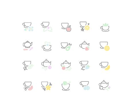 Set of vector line icons, sign and symbols of tea for modern concepts, web and apps. Collection of infographics elements,  and pictograms.