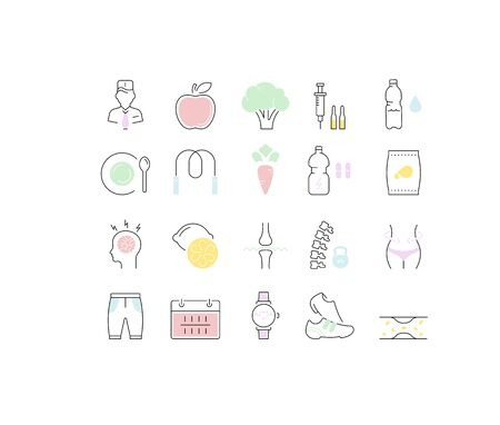 Set vector line icons in flat design Slimming, Healthy Food and Diet with elements for mobile concepts and web apps. Collection modern infographic  and pictogram. Ilustração