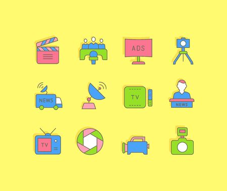 Collection simple icons of television on a yellow background. Modern color signs for websites, mobile apps, and concepts