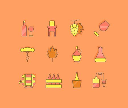 Collection simple icons of wine on an orange background. Modern color signs for websites, mobile apps, and concepts