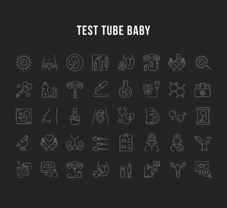 Set of vector line icons, sign and symbols of test tube baby for modern concepts, web and apps. Collection of infographics elements,  and pictograms.