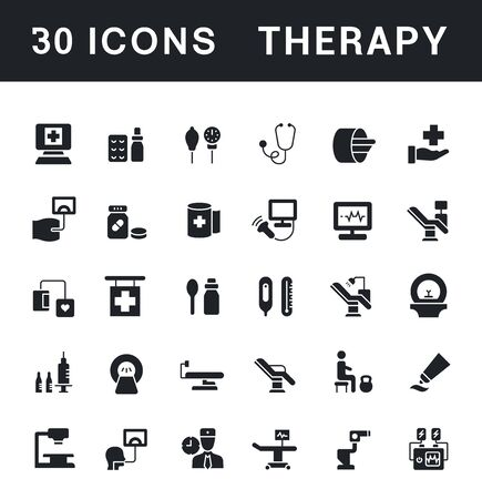Collection simple icons of therapy on a white background. Modern black and white signs for websites, mobile apps, and concepts
