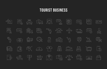 Set of vector line icons of tourist business for modern concepts, web and apps.