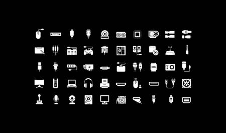 Collection simple icons of upgrading computer components on a black background. Modern white signs for websites, mobile apps, and concepts