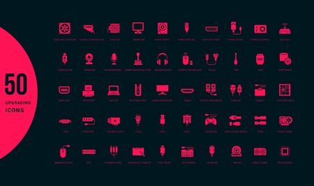 Collection simple icons of upgrading computer components on a black background. Modern red signs for websites, mobile apps, and concepts