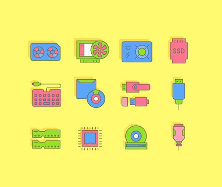Collection simple icons of upgrading computer components on a yellow background. Modern color signs for websites, mobile apps, and concepts