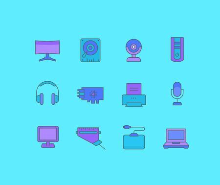 Collection simple icons of upgrading computer components on a blue background. Modern color signs for websites, mobile apps, and concepts