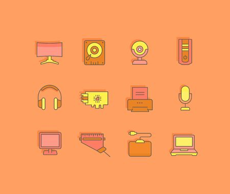 Collection simple icons of upgrading computer components on an orange background. Modern color signs for websites, mobile apps, and concepts Иллюстрация