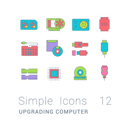 Collection simple icons of upgrading computer components on a white background. Modern color signs for websites, mobile apps, and concepts Иллюстрация