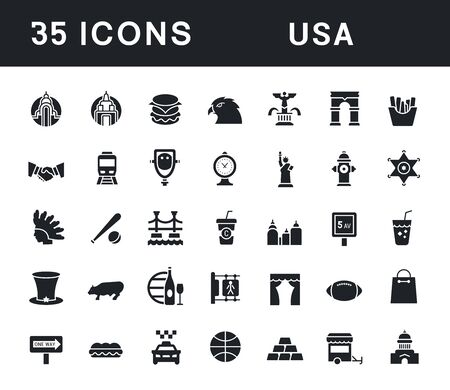 Collection simple icons of usa on a white background. Modern black and white signs for websites, mobile apps, and concepts Vettoriali