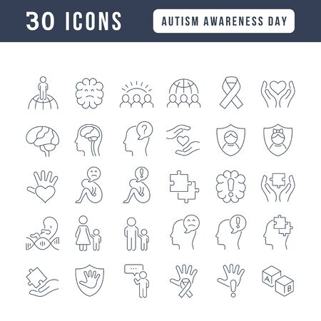 Set vector line thin icons of autism awareness day in linear design for mobile concepts and web apps. Collection modern infographic pictogram and signs. Ilustracja