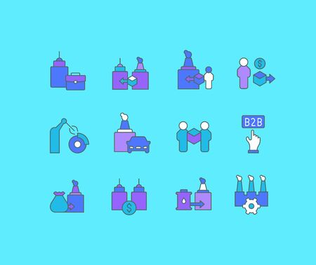 Collection simple icons of b2b on a blue background. Modern color signs for websites, mobile apps, and concepts