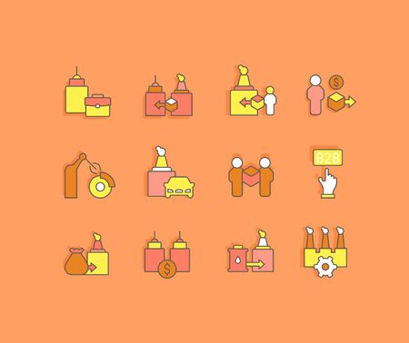 Collection simple icons of b2b on an orange background. Modern color signs for websites, mobile apps, and concepts