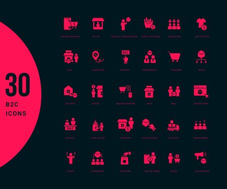 Collection simple icons of b2c on a black background. Modern red signs for websites, mobile apps, and concepts