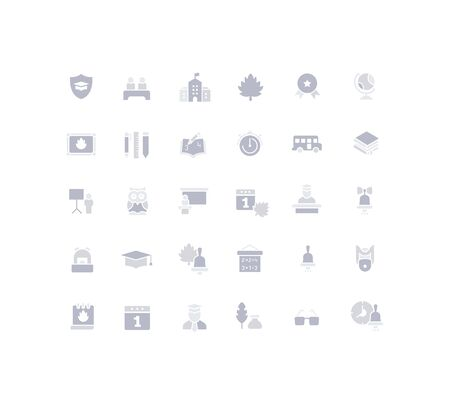 Collection simple icons of back to school on a white background. Modern gray shadows signs for websites, mobile apps, and concepts