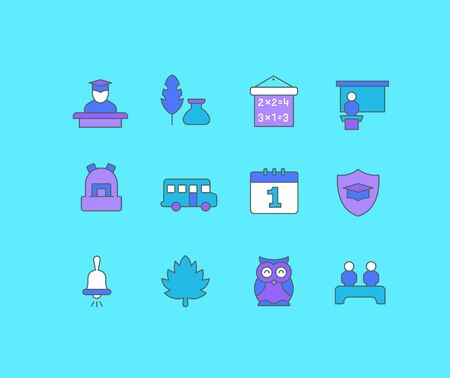 Collection simple icons of back to school on a blue background. Modern color signs for websites, mobile apps, and concepts Illustration