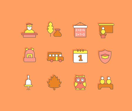 Collection simple icons of back to school on an orange background. Modern color signs for websites, mobile apps, and concepts