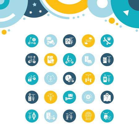 Collection simple icons of bike sharing on color circles. Modern white signs for websites, mobile apps, and concepts