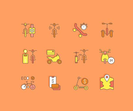 Collection simple icons of bike sharing on an orange background. Modern color signs for websites, mobile apps, and concepts Çizim
