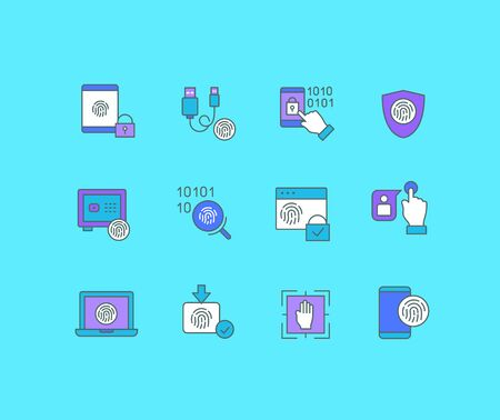 Collection simple icons of biometrics on a blue background. Modern color signs for websites, mobile apps, and concepts