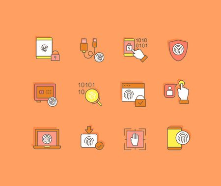 Collection simple icons of biometrics on an orange background. Modern color signs for websites, mobile apps, and concepts