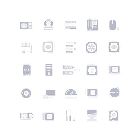 Collection simple icons of computer upgrading on a white background. Modern gray shadows signs for websites, mobile apps, and concepts