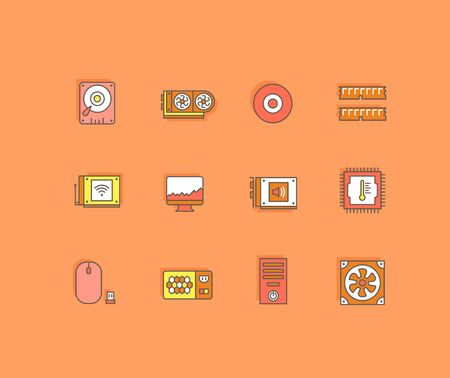 Collection simple icons of computer upgrading on an orange background. Modern color signs for websites, mobile apps, and concepts Vettoriali