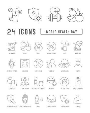 Set vector line thin icons of world health day in linear design for mobile concepts and web apps. Collection modern infographic pictogram and signs.