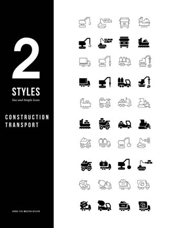 Collection simple and linear icons of construction transport on a white background. Modern black and white signs for websites, mobile apps, and concepts