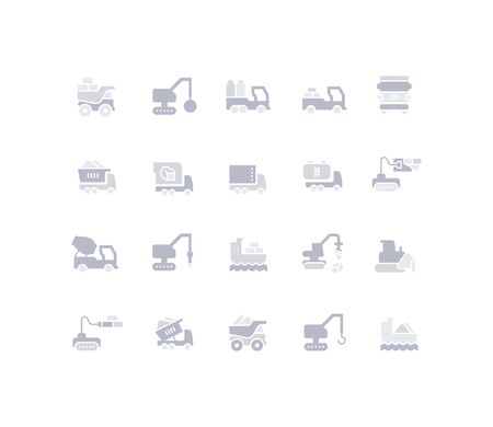 Collection simple icons of construction transport on a black background. Modern red signs for websites, mobile apps, and concepts