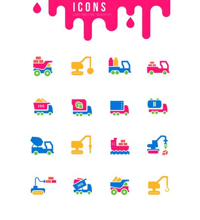 Collection simple icons of construction transport on a white background. Modern black and white signs for websites, mobile apps, and concepts Stock Illustratie