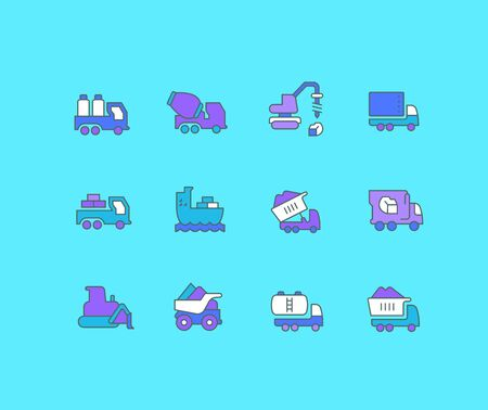 Collection simple icons of construction transport on a blue background. Modern color signs for websites, mobile apps, and concepts Stock Illustratie